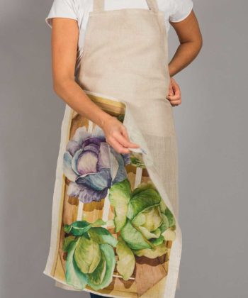 Linen apron with dish towel
