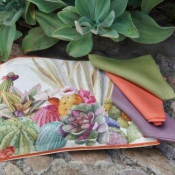 """Linen Placemat """"Cactus"""""""