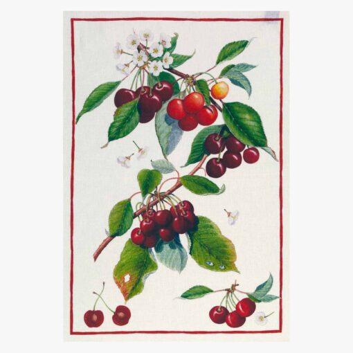 Linen tea towel Cherry