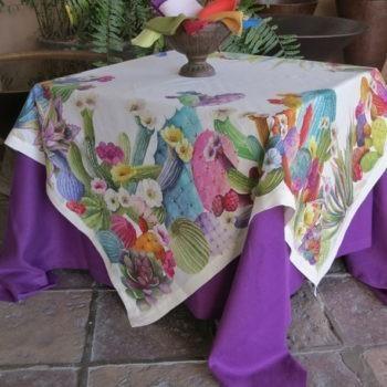 Italian linen tablecloth Cactus