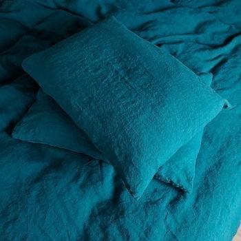 "Completo lenzuola ""Stone Washed"" Sea Blue - 100% lino"