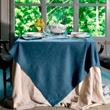 Solid color italian linen tablecloth