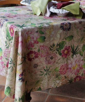 "Mantel de lino ""La vie en rose"""
