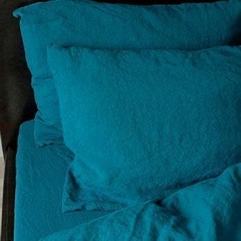 """Juego de sabanas """"Stone Washed"""" Sea Blue - 100% Lino"""
