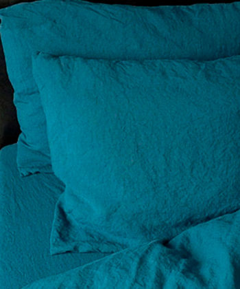 "Bed sheets set ""Stone Washed"" Sea Blue - 100% linen"