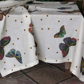 Italian linen tablecloth Butterflies