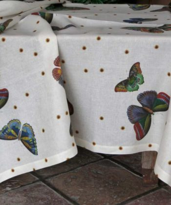mantel de lino mariposas