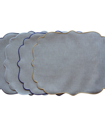 Linen placemat with acrylic coating Cordonetto - Oval