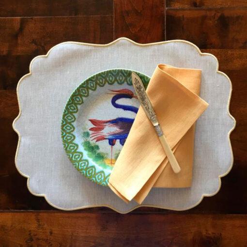 Tovaglietta di lino plastificato con cordonetto – Ovale