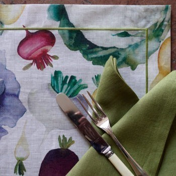coated linen placemat potager
