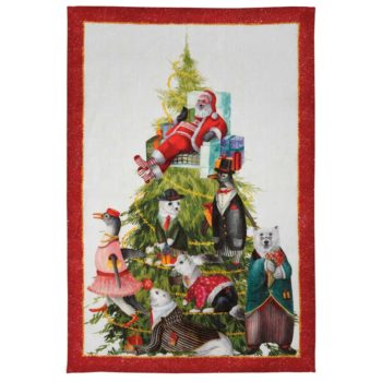 "Linen tea towel ""Magical Tree"" - Red"