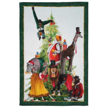 "Linen tea towel ""Magical Tree"" - Green"