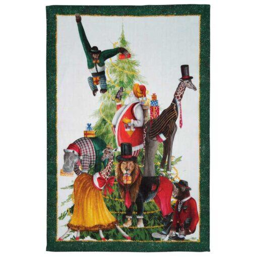 """Strofinaccio di lino """"Magical Tree"""" - Verde"""