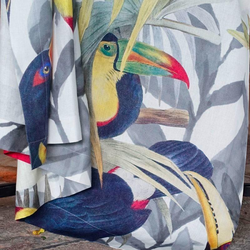 mantel de lino Toucans