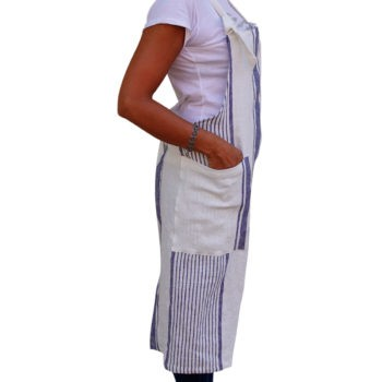 Apron with stripes - Washed linen