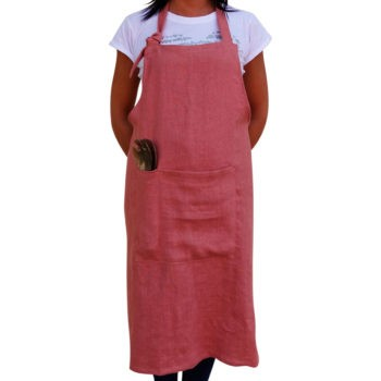 Apron Washed linen - Red
