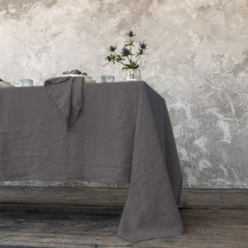 tovaglia di lino stone washed steel grey