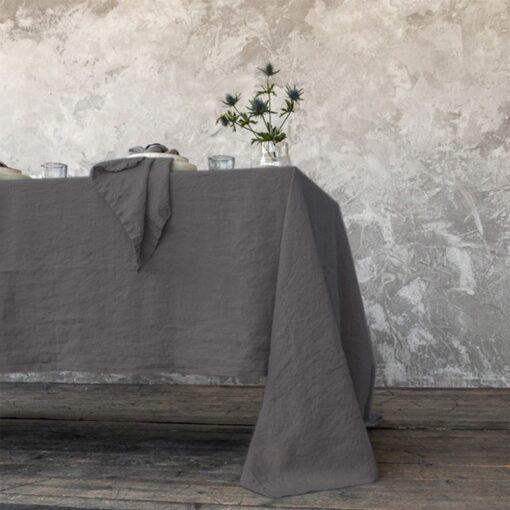 tovaglia di lino stone washed steel grey