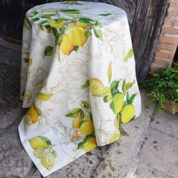 Linen Tablecloth With Acrylic Coating Limoncello