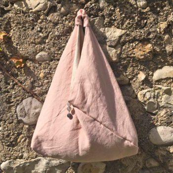 Borsa di lino lavato rosa